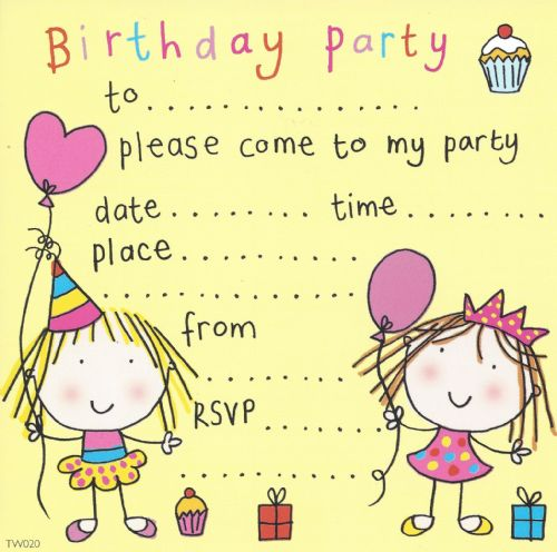 Twin Girls Children's Party Invitation